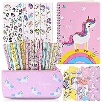 Faburo 40Pz Bolígrafo Regalos de Unicornio para Niñas, Estuche Escolar y Cuadernos de Unicornio y Pegatina de Papelería…