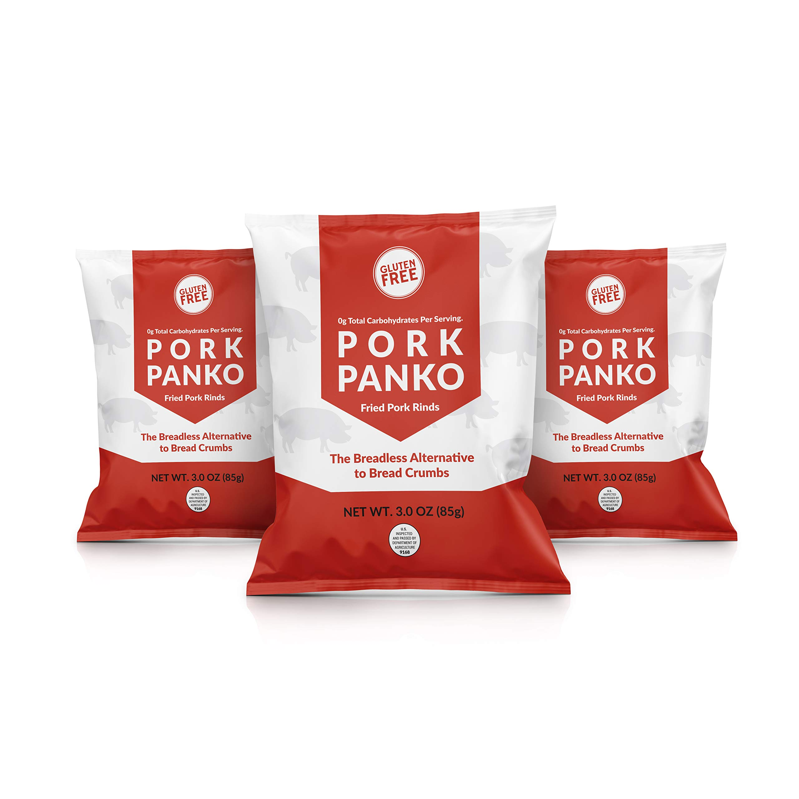Pork Panko - 0 Carb Pork Rind Breadcrumbs - Keto and Paleo Friendly, Naturally Gluten-Free and Carb-Free (3 x 3oz Packs) by Bacon's Heir
