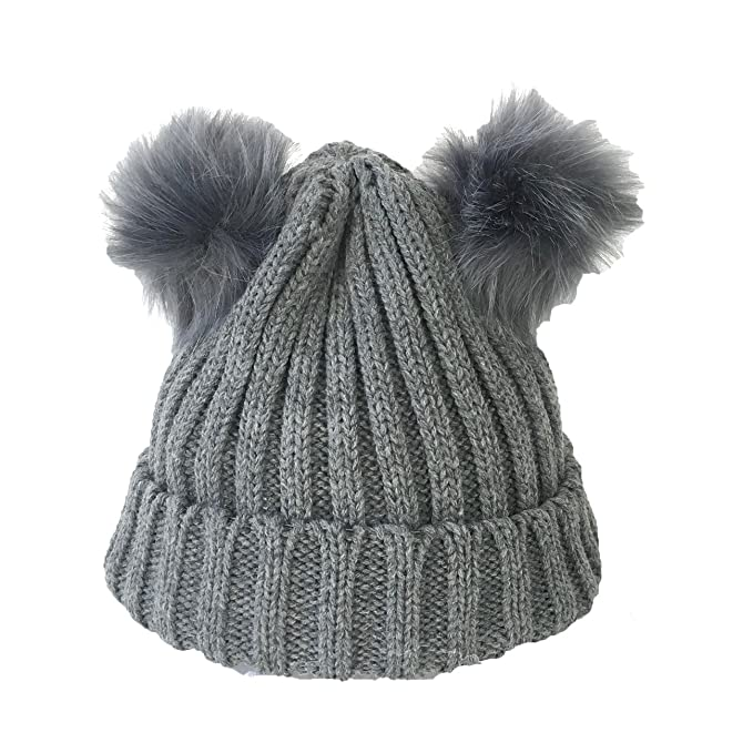 7f700d67161a1 Image Unavailable. Image not available for. Color  Fashion Culture Women s Knit  Double Pom Pom Beanie Hat ...