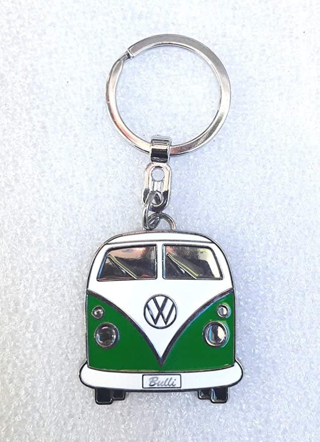 VW Collection by BRISA Key Chain - Blue Bus Front - Official VW Licensed Product