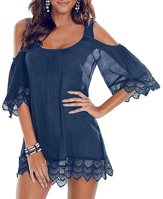 35577d7f85 Adreamly Women Bathing Suit Beach Cover up Cold Shoulder Lace Crochet  Bikini Swimwear Dress Grey Blue