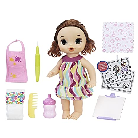 Baby Alive Finger Paint Baby Brown Hair Doll Drinks Wets Doll Accessories