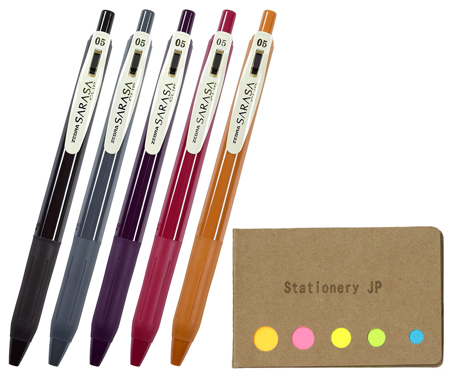 926dd4ce8e7c Amazon.com: Zebra Sarasa Clip 0.5 Retractable Gel Ink Pen, Rubber Grip, 0.5  mm, Vintage Colors Type 2, 5 Color Ink, Sticky Notes Value Set: Office  Products