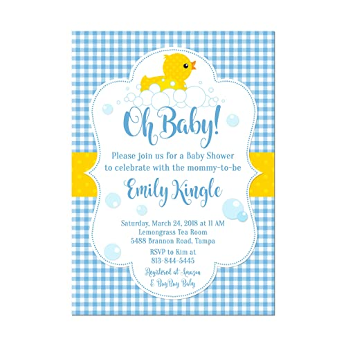 Amazon Com Rubber Duck Baby Shower Invitation In Blue Pink Or Green