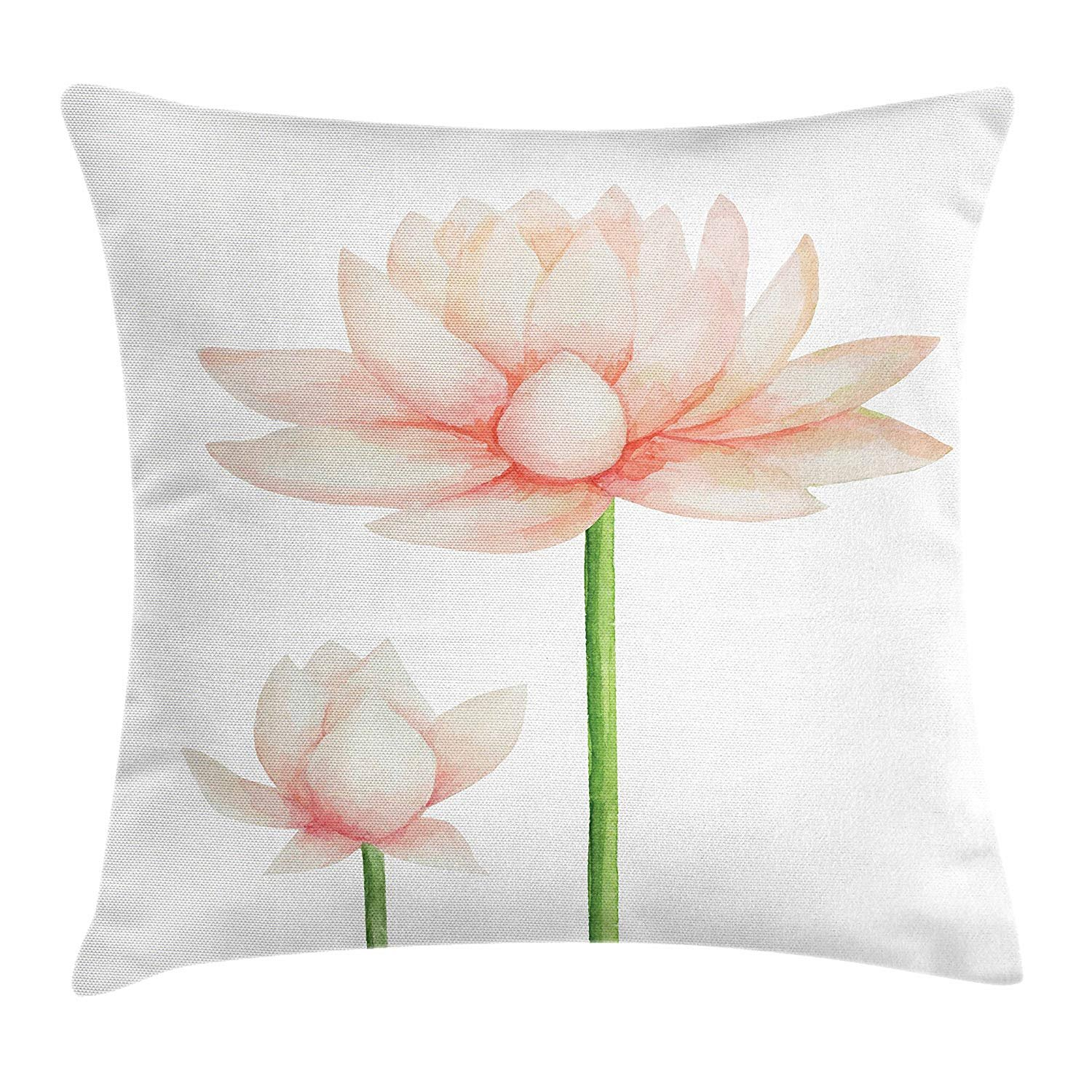 Yoga Throw Pillow Cushion Cover by, Pastel Colored Blooming Lotus Flower Romantic Fresh Garden Plant Spa Theme, Decorative Square Accent Pillow Case, 18 X 18 Inches, Peach Green and White by LISY (Image #1)