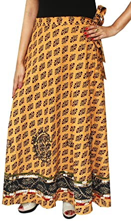 1e34a0bd8 Womens Long Indian Wrap Skirt Cotton Maxi India Clothing (Brown) at Amazon  Women's Clothing store: