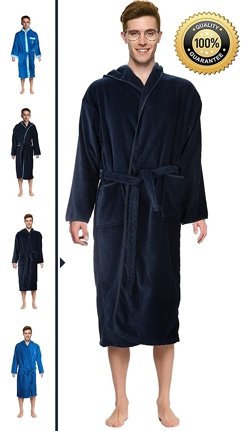 Abstract Bath Robe Towel Men's/Boys 100% Cotton Hooded-Terrycloth-Velour Finishing Outside- 2 Pockets- Color Navy/Blue
