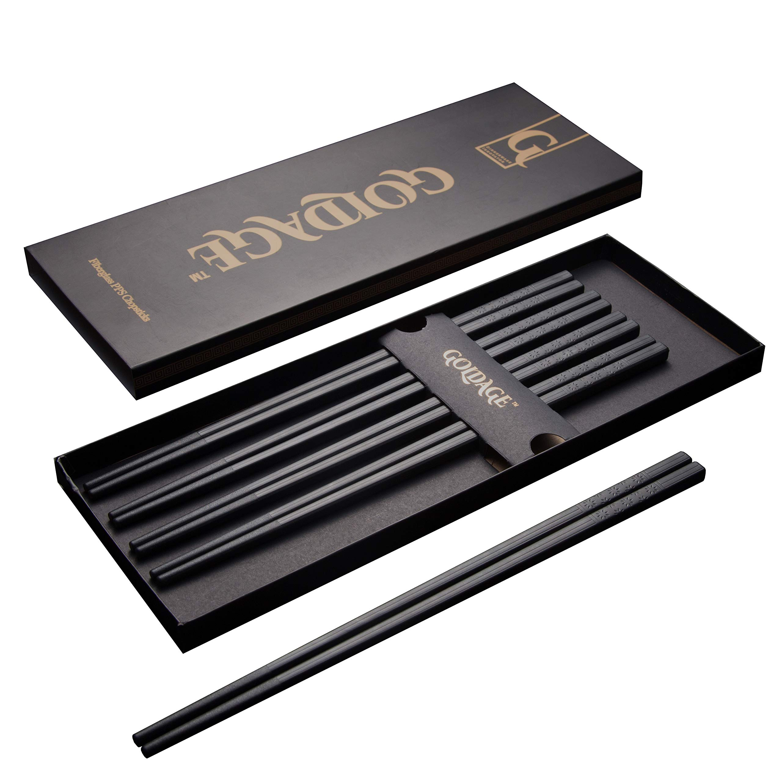 Goldage 5-Pairs Fiberglass Dishwasher-safe Chopsticks (Japanese Minimalism - Floating Flowers)
