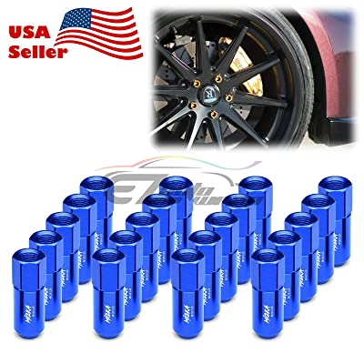 EZAUTOWRAP Blue 20 PCS M12x1.25 Lug Nuts 60mm Extended Tuner Aluminum Wheels Rims Cap WN02: Automotive