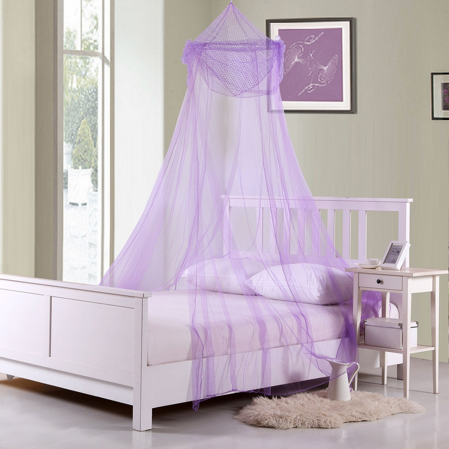 Collapsible Purple Sheer Bed Canopy For Kids Room Decor For Boys, Teen Girl Room Decor