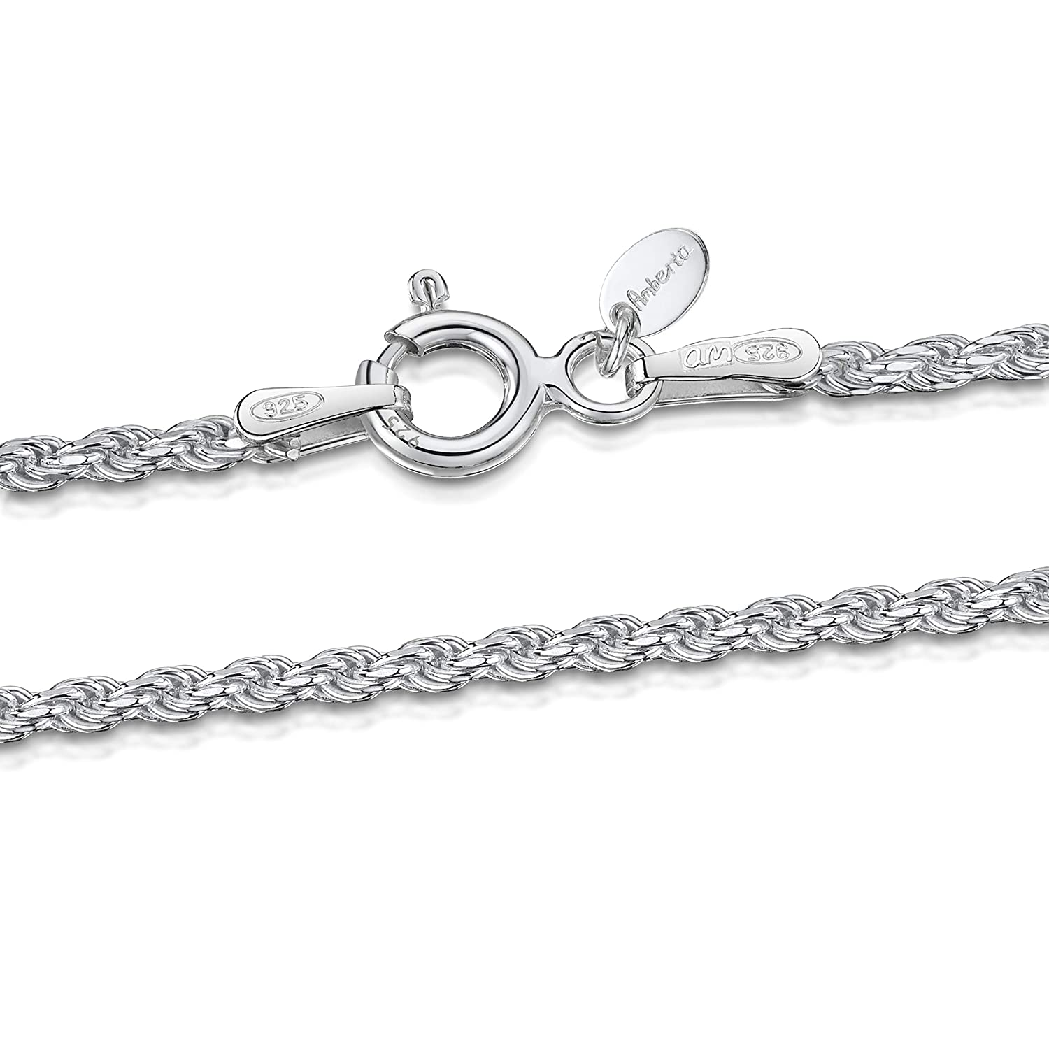 Amberta 925 Sterling Silver 1.5 mm Twisted French Rope Chain Necklace 16 18 20 22 24 in