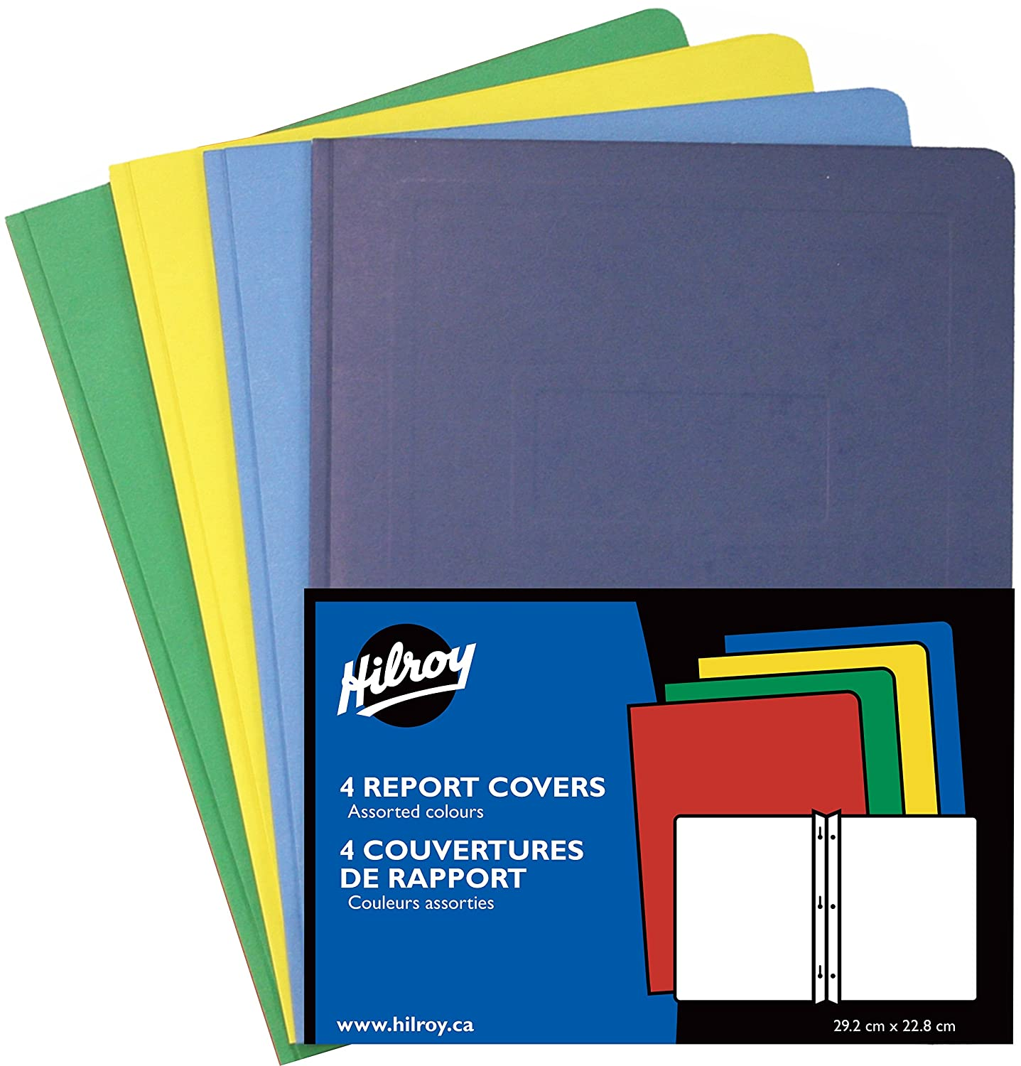 Hilroy Leatherine Report Covers, 11-1/2 X 9-1/8-Inch, 4 Per Pack, 50 Packs, Assorted Colors -6242 06242