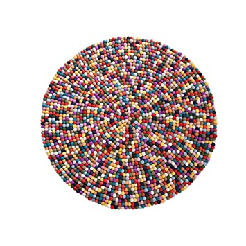 Invicta Interior Design Teppich Felt Ball100cm Bunt Filz Handarbeit
