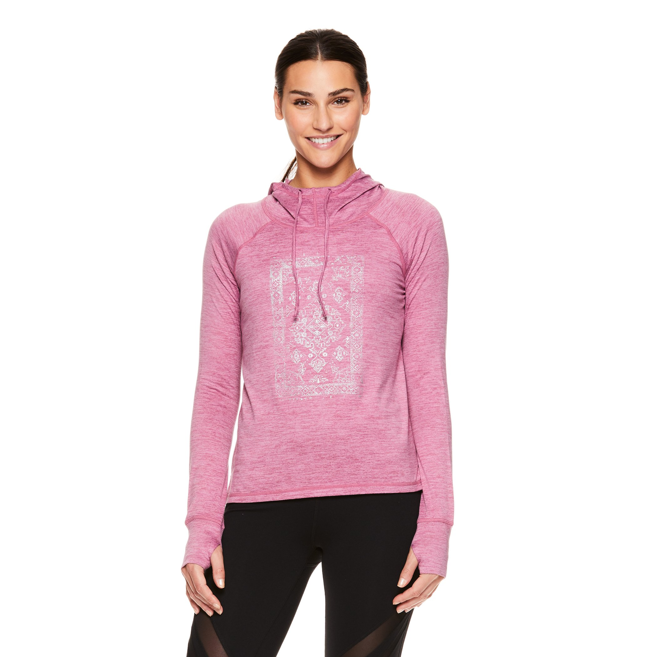 Gaiam Women's Graphic Long Sleeve Hoodie - Hooded Activewear Workout & Yoga Sweater - Maya Mellow Mauve Heather, X-Small by Gaiam