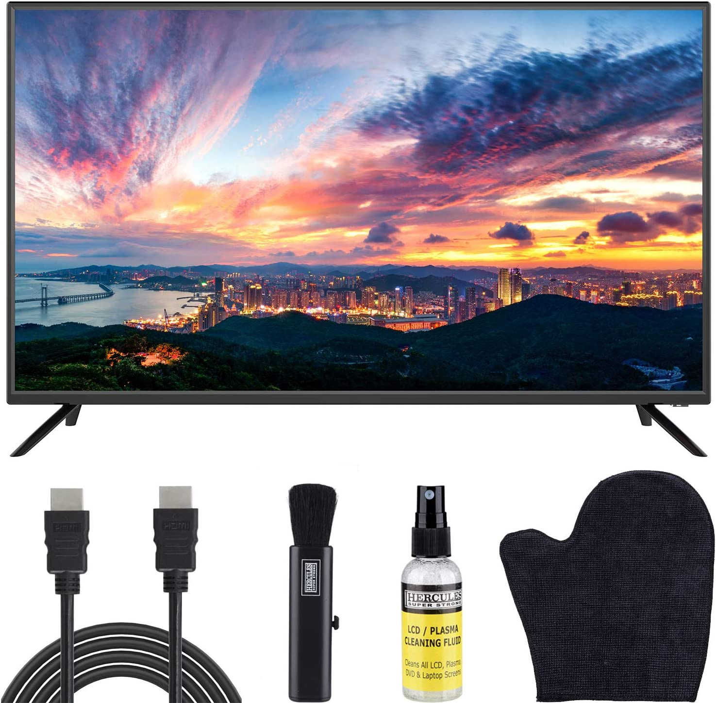Sansui 40-Inch 1080p FHD DLED TV (S40P28F) Lightweight Slim Built-in with HDMI, USB, VGA, High Resolution Bundle with 6.5 ft HDMI Cable and LCD Screen Cleaning Kit