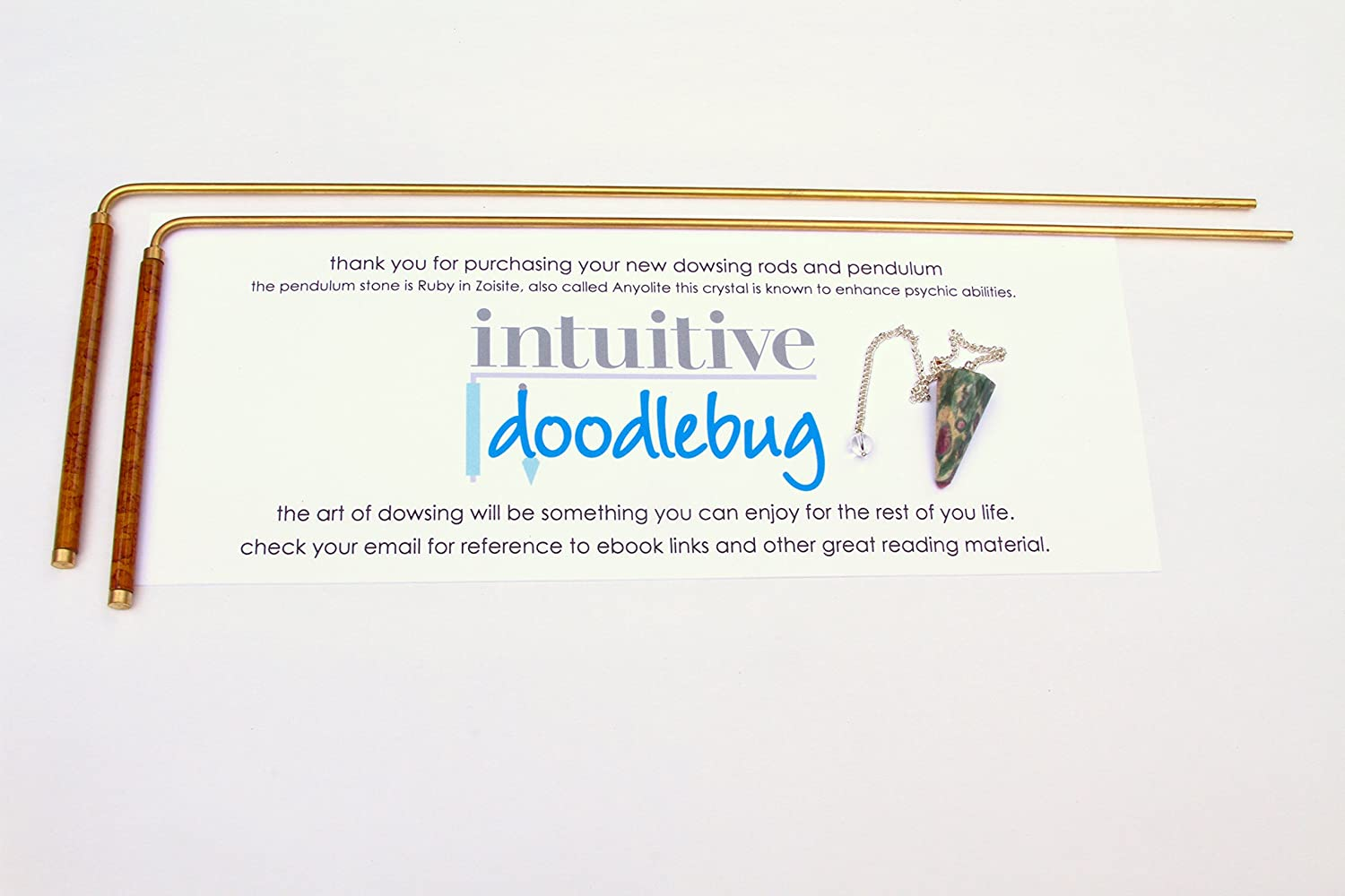 FPK products Intuitive Doodlebug Dowsing Rod Set includes 2 Divining Rods with Enamel Coated Copper Handles Ruby Zoisite Pendulum known to Enhance Psychic Abilities both great tools to Explore the Art of Dowsing