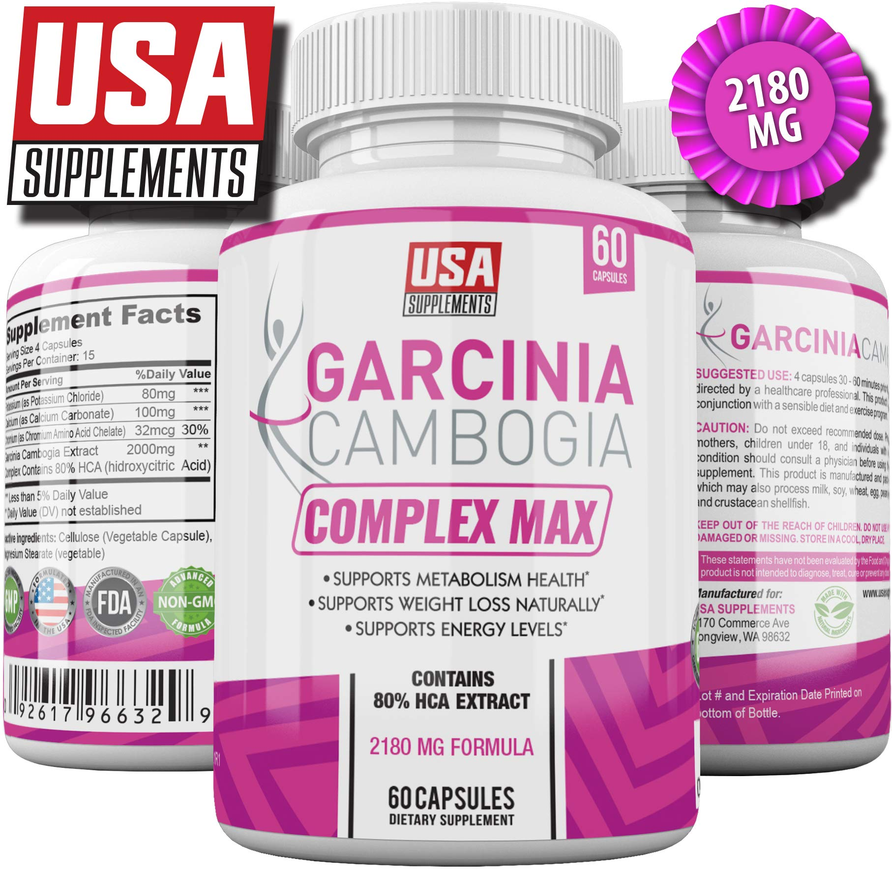 Garcinia Cambogia Weight Loss Pills | Natural Appetite Suppressant for Women | Best Appetite Suppression Supplement | Vegan Veggie Caps | 100% Pure Extract Works Great with Apple Cider or Forskolin