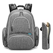 CoolBELL Baby Diaper Backpack with Insulated Pockets / 15 Inch Water-Resistant Baby Bag/Multi-Functional Travel Knapsack Include Changing Pad (New Grey)