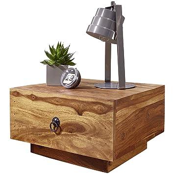 WOHNLING Nachttisch Massiv Holz Sheesham Design Nacht Kommode 25 Cm Hoch  Mit Schublade Nachtschrank