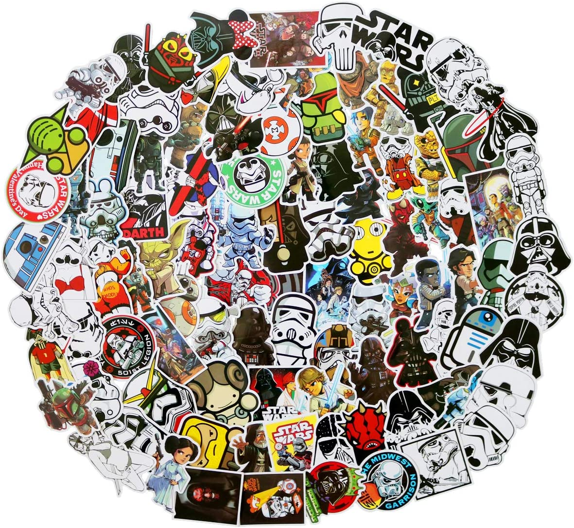 100Pack Star Wars Stickers Set Random Sticker Decals for Water Bottle Laptop Cellphone Bicycle Motorcycle Car Bumper Luggage Travel Case. Etc (Star Wars)