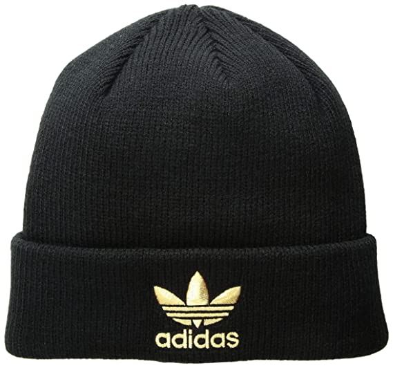 51f55a60 Amazon.com: adidas Men's Originals Trefoil Beanie, Black/Gold, One ...