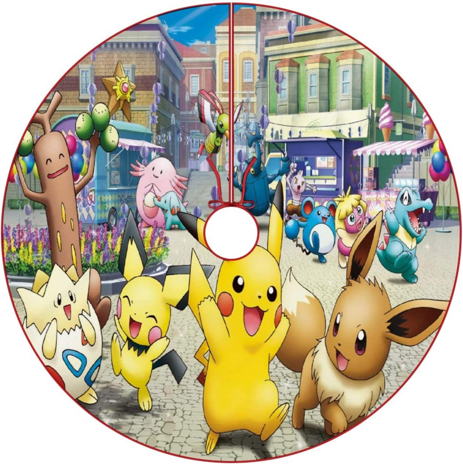 oobon Christmas Tree Skirt for Anime Fans,Pikachu Pichu Eevee Togepi, Xmas Holiday Party Ornament Supplies Large Santa Tree Mat Decor for Gift and Decoration, 30 inches