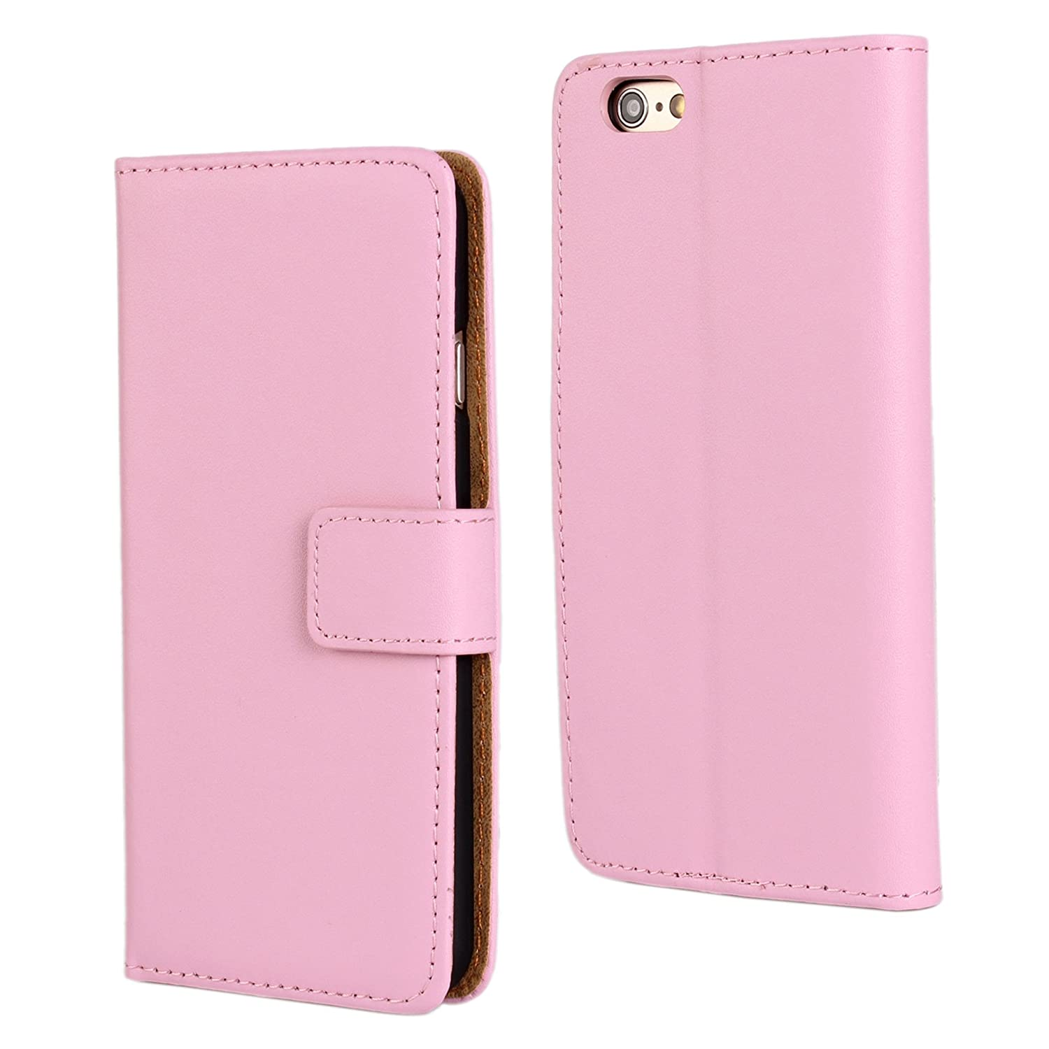 iphone 6 Plus/iphone 6s Plus Case Cavor Genuine Leather Case [Wallet Function] Magnetic Closure Flip Stand Bookstyle Cover with Card Slot for Apple iphone 6 Plus/6s Plus (Orange)- 5.5 Inch