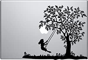 Gril Swinging on Tree Macbook Symbol Keypad Iphone Ipad Decal Skin Sticker Laptop