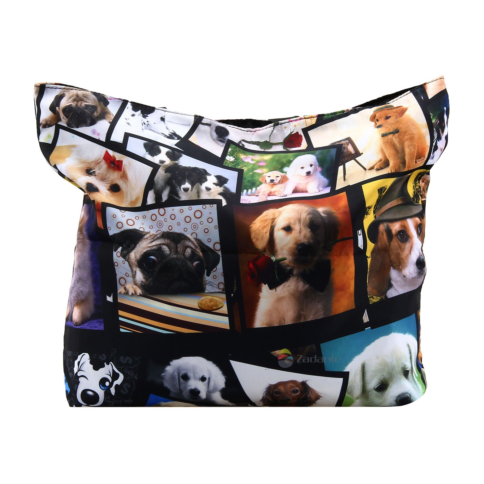 Newplenty Ladies Zippered Light Shoulder Shopping Tote Bag Handbag Beach Satchel, Many Dogs by newplenty (Image #2)