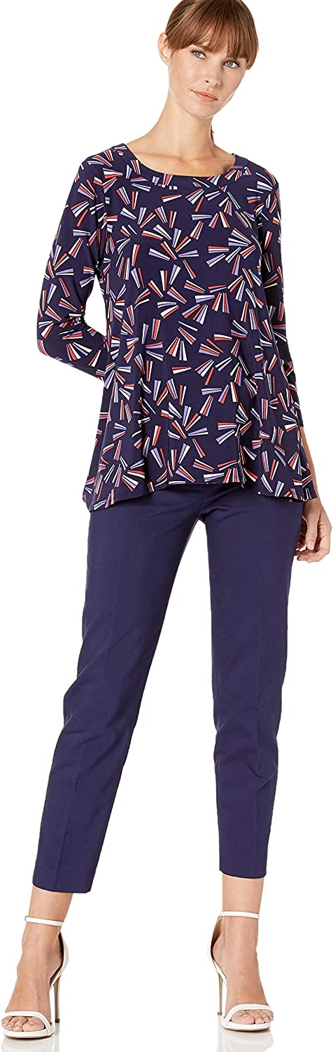 Anne Klein Womens High Low Top Blouse Eclipse/Cape Cod Combo