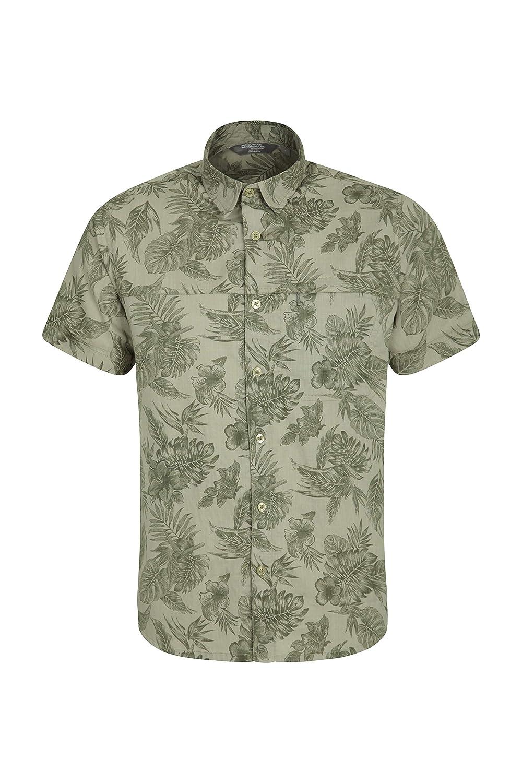 trabaje a m/áquina la Camiseta Lava Camisa del Verano de Breathable Mountain Warehouse Tropical Camisa Envuelta Corta Impresa Tropical de Mens 100/% Camisa del algod/ón