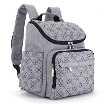 cc7666333aa1dc Amazon.com : Big Sale - Multi-Function Baby Diaper Bag Travel Diaper  Backpack with Changing Pad and Stroller Clips(Gray) : Baby