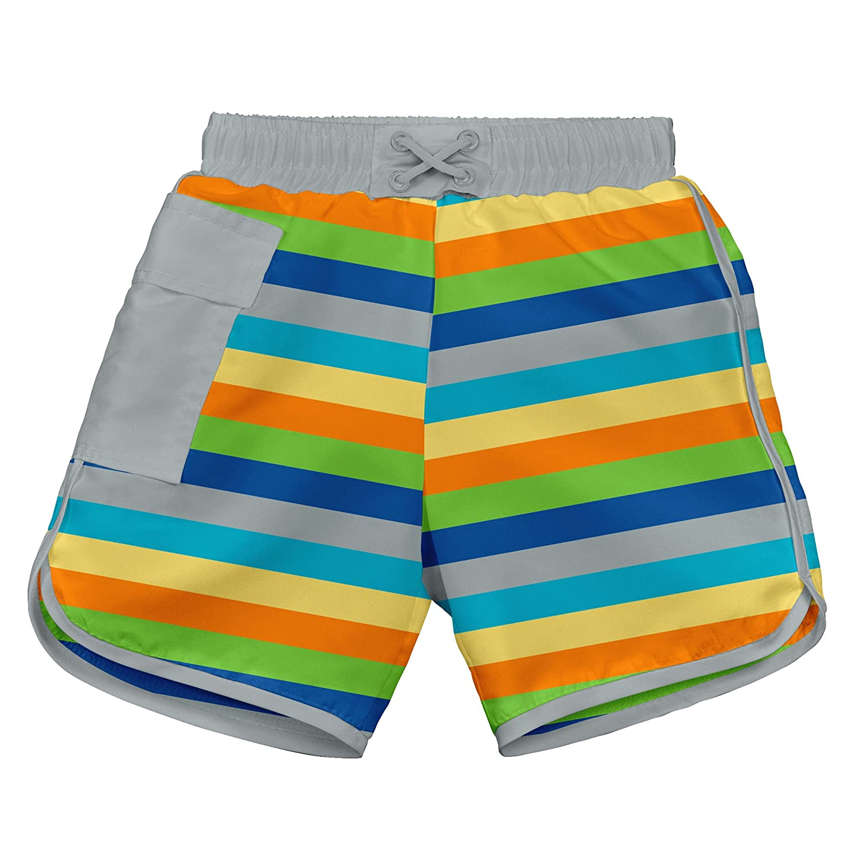 I-Play Pocket Board Shorts Swim Diaper, 3 to 6 Months, Grey Multi-Stripe JellyBean/First Steps 722187-614-43