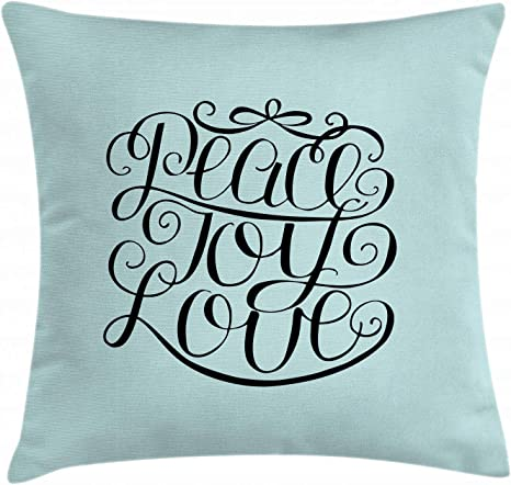 Amazon Com Ambesonne Joy Throw Pillow Cushion Cover Hand Lettering Pattern Peace Joy Love Words Pillars Of Western Decorative Square Accent Pillow Case 36 X 36 Turquoise And Black Home Kitchen