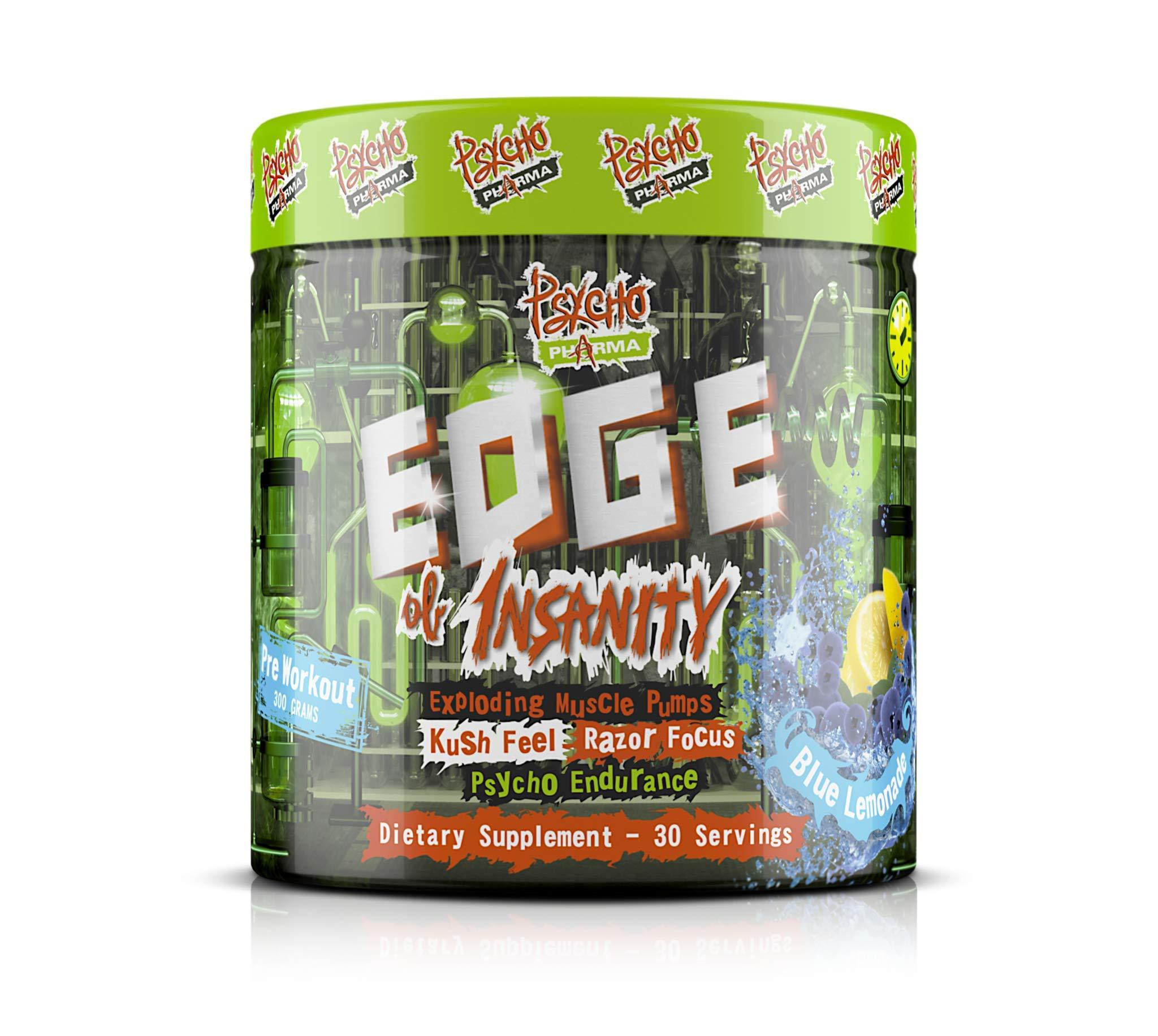 Edge of Insanity Pre-Workout - Exploding Muscle Pumps Blue Lemonade Flavor, 300 Grams (Blue Lemonade Pre Workout)