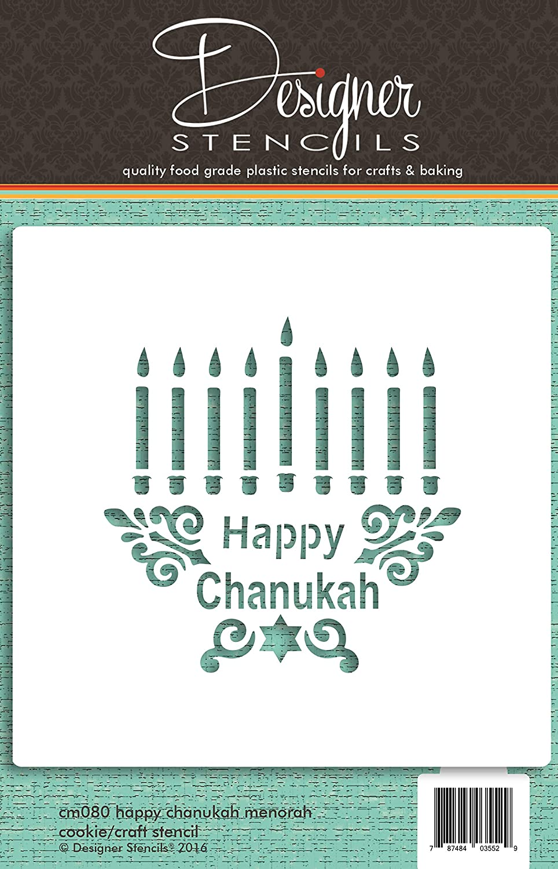 Happy Chanukah Menorah CM080 Cookie and Craft Stencil by Designer Stencils