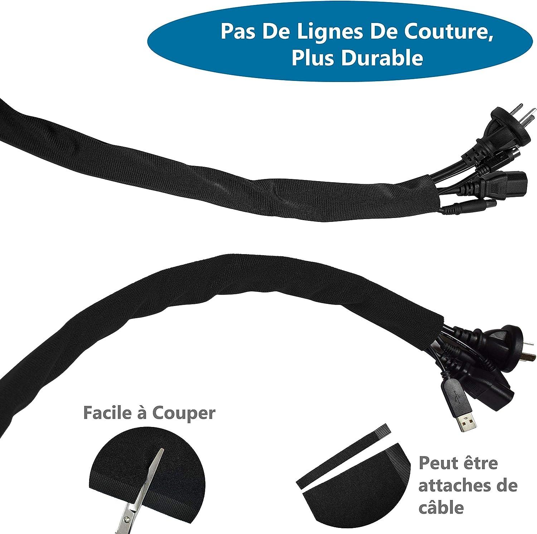 VoJoPi 2 pezzi Gaines de C/âbles /∅ 28 und /∅22 mm ,Noir 2 x 3 m Cache Cable Flexible C/âble Rangement Protection du Cache C/âbles pour C/âbles T/él/é//Ordinateur//USB//Audio//Vid/éo -