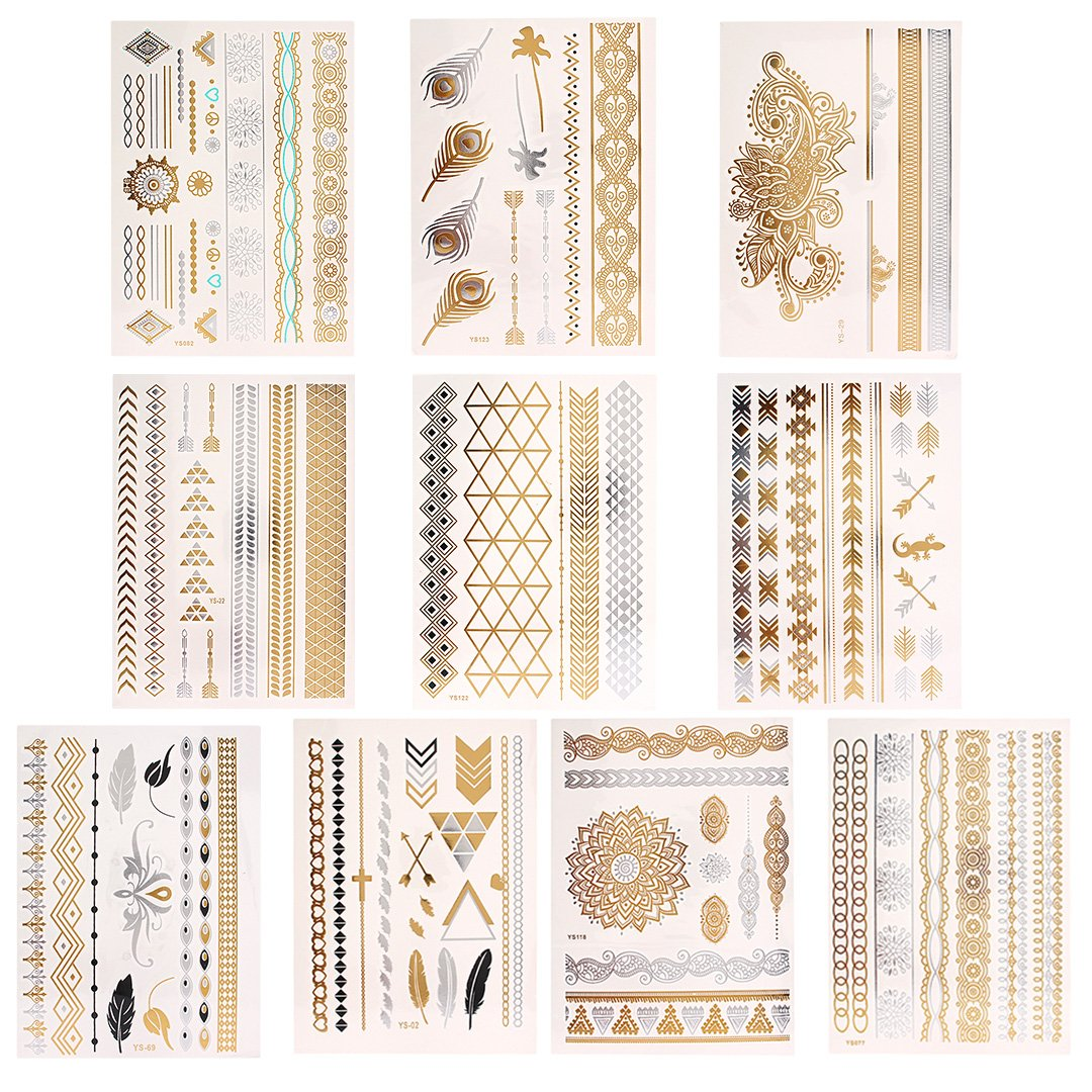 Novias Shimmer Design Metallic Temporary Tattoos Flash Tattoos Henna Fake Jewelry Tattoos(10 Sheets)