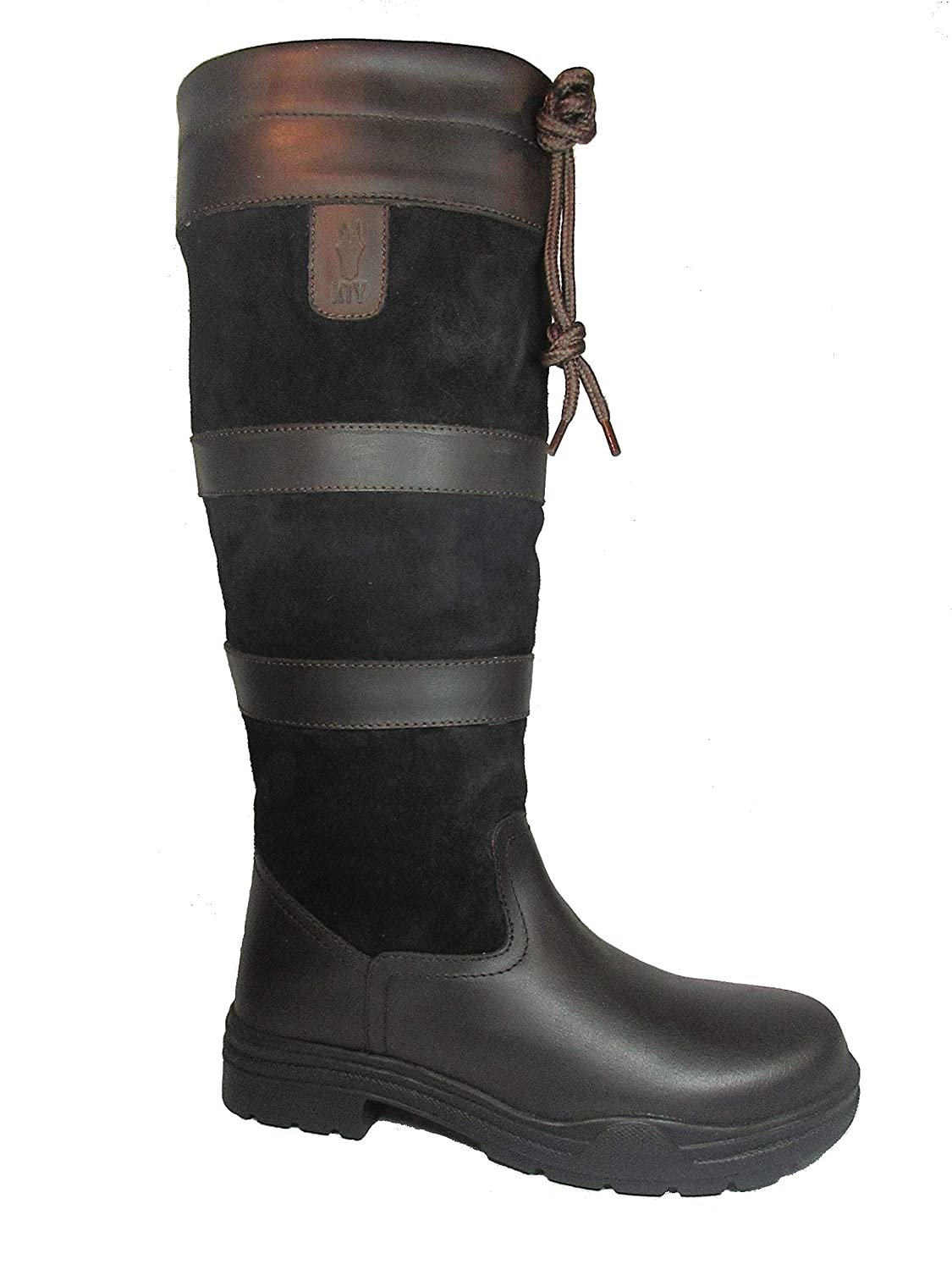 225882b0d90 KTY Long Leather Country Boots - Adults Equestrian Ladies Womens Riding  Walking Outdoor Yard Brown/Brown and Black/Brown UK Size 3-10 Standard +  Wide