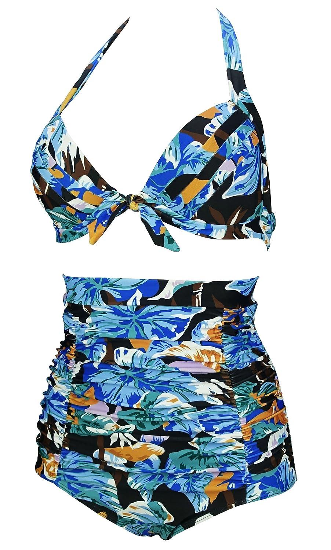 FBA CSF220C COCOSHIP Retro 50s Black Pink Blue Floral Halter High Waist Bikini Set Halter Carnival Swimsuit