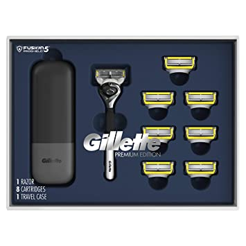 Gillette ProGlide Shield Shave Gift Set for Men - 8 Fusion ProGlide shield Blade Refills,1 Razor Handle, 1 Razor Case