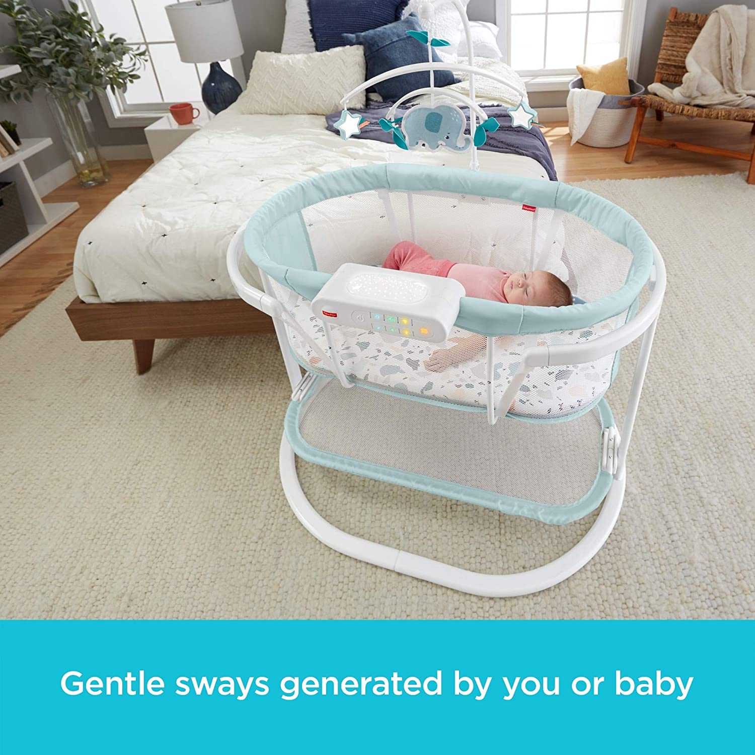 Vibrations Baby Bassinet with Soothing Lights Music Fisher-Price Soothing Motions Bassinet /& Motion Pacific Pebble