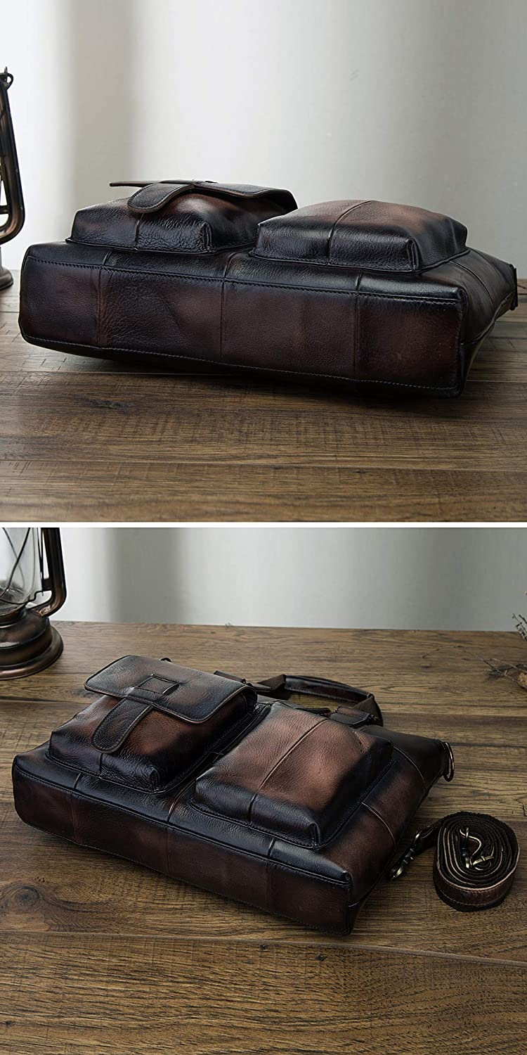 Y B1001 Wine Leaokuu Leather Mens Business Travel Laptop Case Best Portfolio Briefcase Handles Organizer Shoulder Strap Messenger Bag