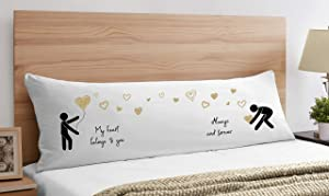 His and His Men Gay Couples Love Valentine Accent Decorative Couch Long Throw Zipper Body Pillow Cover Case Pillowcase Wedding Gifts Anniversary Cute Romantic Boyfriend Mr and Mr Same Sex Room Decor