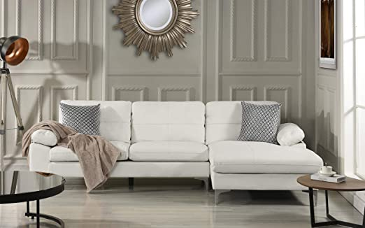 Leather Sectional Sofa, L-Shape Couch with Chaise (Right Chaise, White)