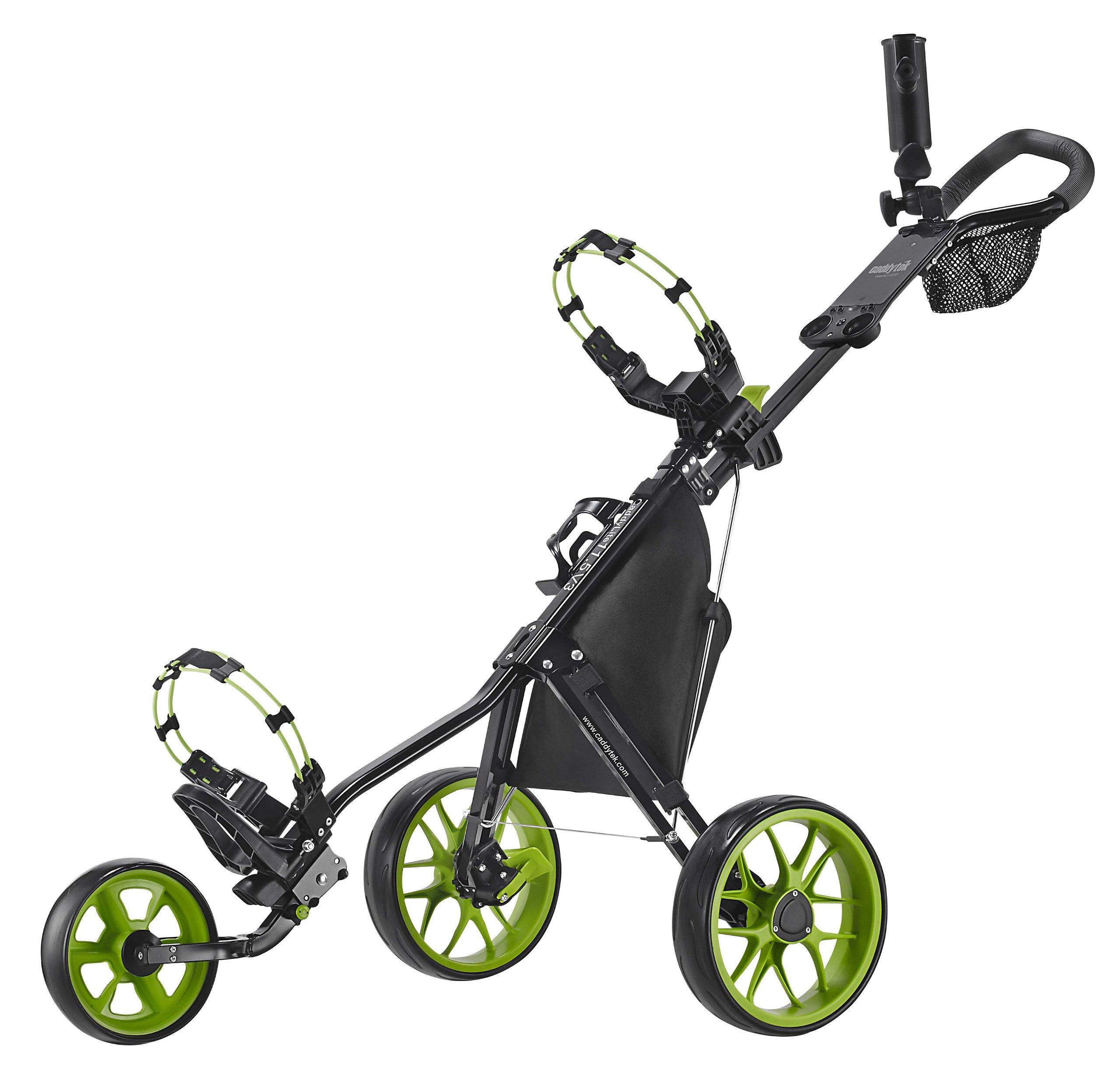 CaddyTek Deluxe 3 Wheel Golf Push Cart Version 3, CaddyLite 11.5 V3- Green by CaddyTek