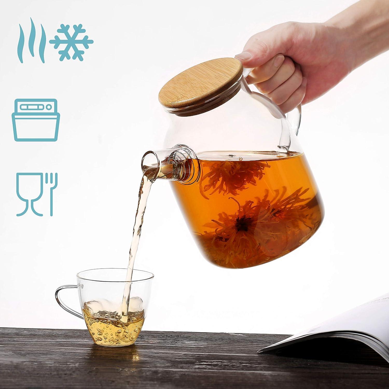 1500 ml apta para lavavajillas resistente al calor Tetera con tapa de bamb/ú y colador