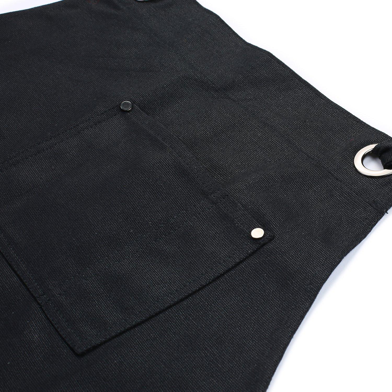 Delantal de trabajo de lona encerada con bolsillos de gran tama/ño y tirantes cruzados en la espalda color negro de Clya Home perfecto para usar en casa o en el taller para hombre o mujer