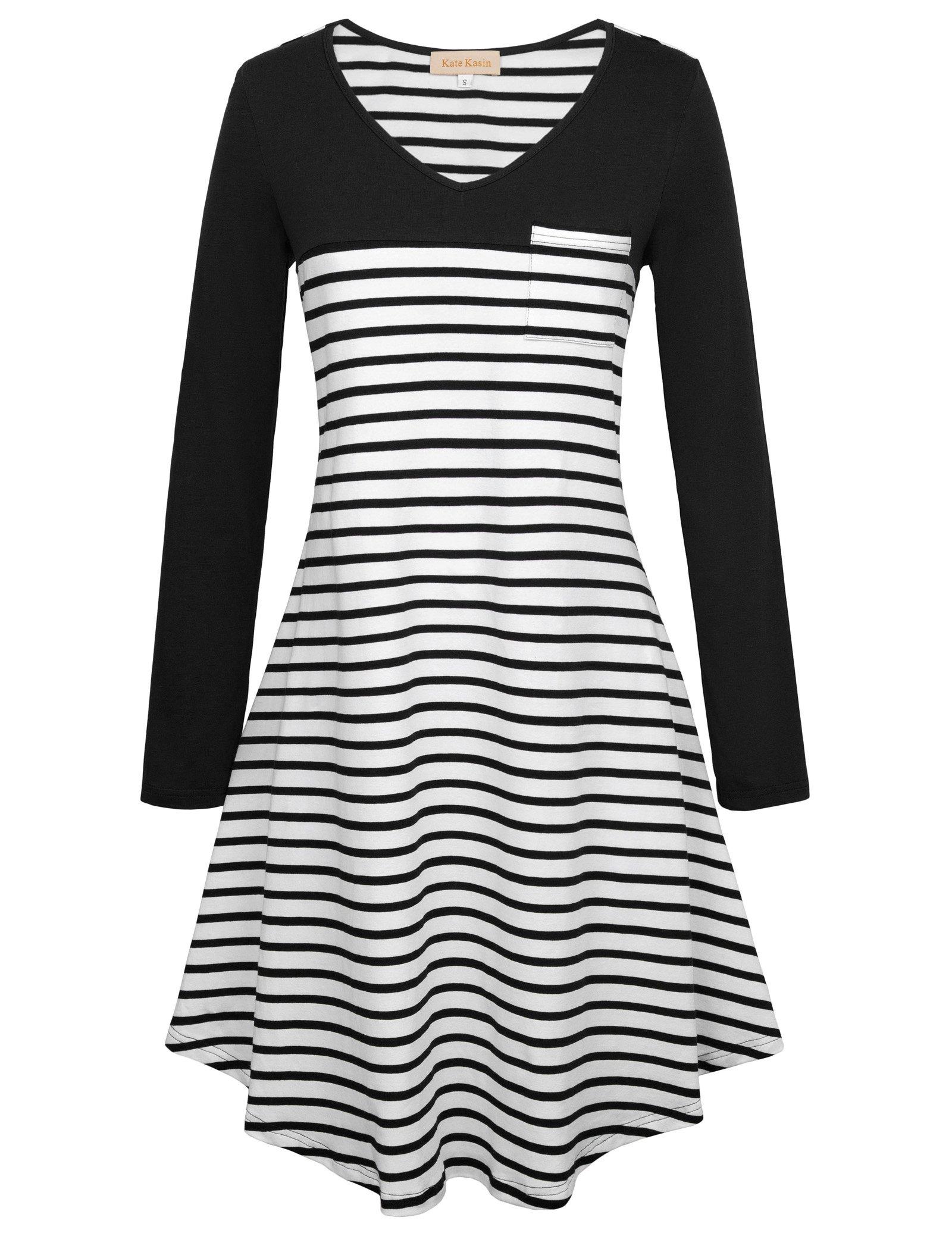 d67dce720cf Kate Kasin Women Long Sleeve Swing T-Shirt Dress V-Neck Stripe Casual Dress  Tunic S,KK781-1