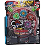 cartup Beyblades 4-in-1 Metal Fighter Fury with Fight Ring and Handle Launcher for Kids (Black)